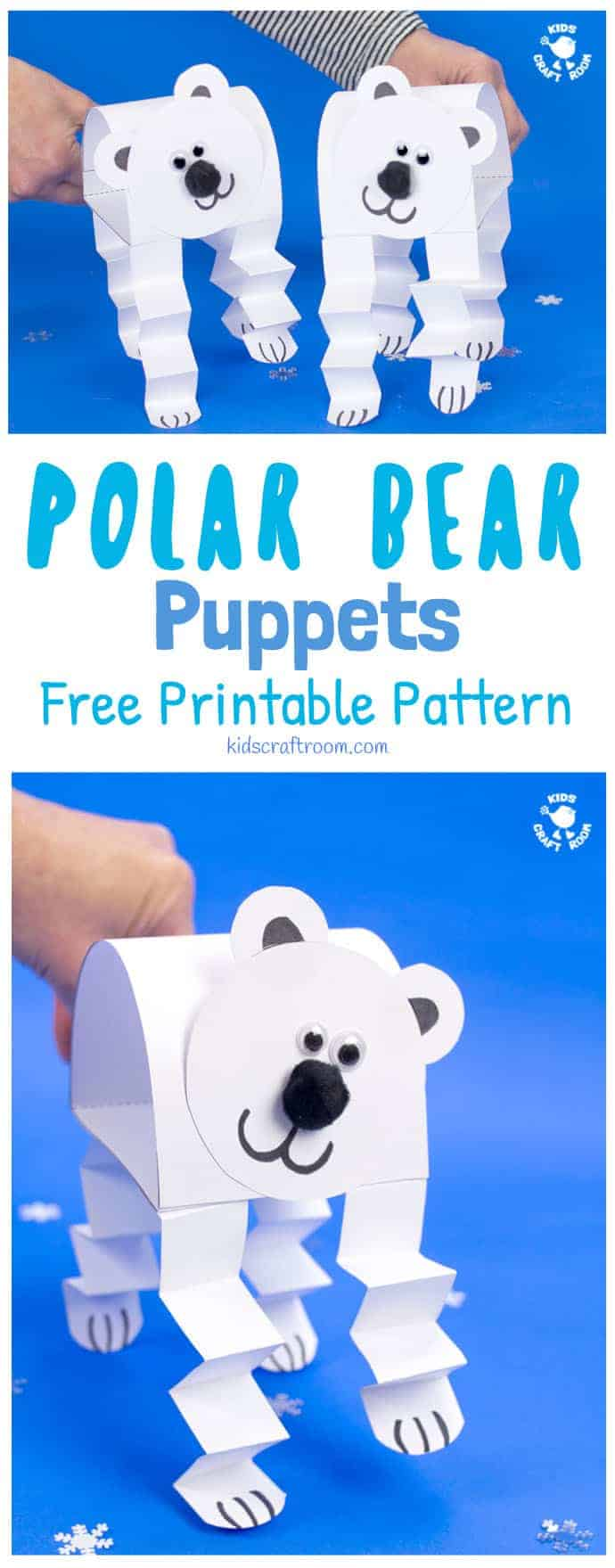 How adorable is this Polar Bear Puppet Craft! This polar bear craft is made from just one sheet of paper! Print the free pattern, cut, stick and play! What a fun Winter craft for kids! #polarbear #polarbears #winter #wintercrafts #kidscrafts #puppets #kidscraftroom #polarbearcrafts