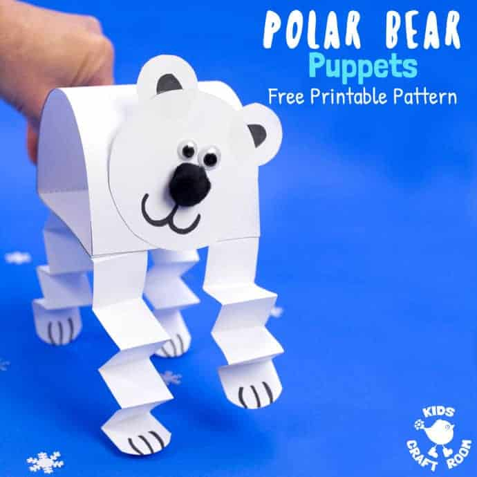 Free Printable Polar Bear Puppet Template Kids Craft Room