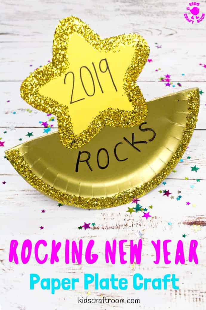 The New Year will be absolutely awesome and totally rocking! This easy paper plate New Year's Eve Craft is a great way for kids to enjoy the celebrations! #kidscraftroom #newyearseve #newyears #newyearseveparty #newyearsevecrafts#newyearkids #newyearsevekids #kidsnewyear #paperplates #paperplatecrafts #kidscrafts #kidsactivities via @KidsCraftRoom