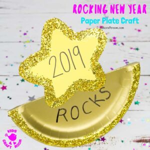 The New Year will be absolutely awesome and totally rocking! This easy paper plate New Year's Eve Craft is a great way for kids to enjoy the celebrations! #kidscraftroom #newyearseve #newyears #newyearseveparty #newyearsevecrafts #newyearkids #newyearsevekids #kidsnewyear #paperplates #paperplatecrafts #kidscrafts #kidsactivities via @KidsCraftRoom