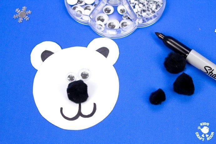 Polar Bear Puppet Craft step 7