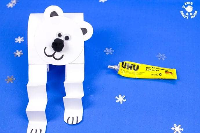 Polar Bear Puppet Craft step 8