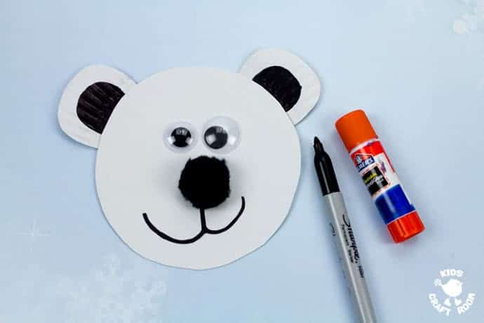Paper Plate Polar Bear Twirler step 3