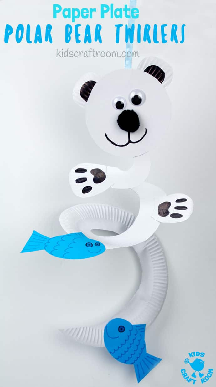 How fun is this Paper Plate Polar Bear Twirler? Hold it high and give it a blow to watch it go, go go! This is a lovely interactive Winter craft for kids that's really easy to make with paper plates. Paper plate twirlers are so fun! #kidscraftroom #polarbears #wintercrafts #wintercraftsforkids #paperplates #paperplatecrafts #twirler #whirligig #kidscrafts #toddlercrafts  #preschoolcrafts #easycraftsforkids #easycrafts #spinners via @KidsCraftRoom