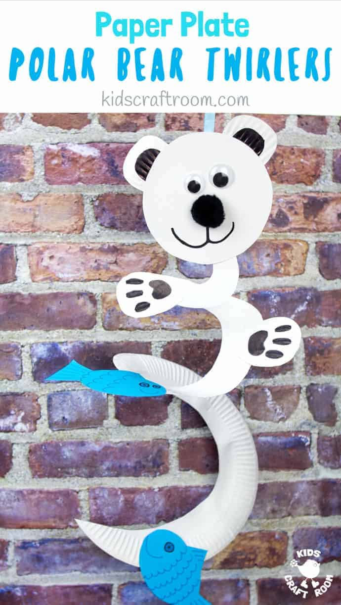How fun is this Paper Plate Polar Bear Twirler? Hold it high and give it a blow to watch it go, go go! This is a lovely interactive Winter craft for kids that's really easy to make with paper plates. Paper plate twirlers are so fun! #kidscraftroom #polarbears #wintercrafts #wintercraftsforkids #paperplates #paperplatecrafts #twirler #whirligig #kidscrafts #toddlercrafts #preschoolcrafts #easycraftsforkids #easycrafts #spinners