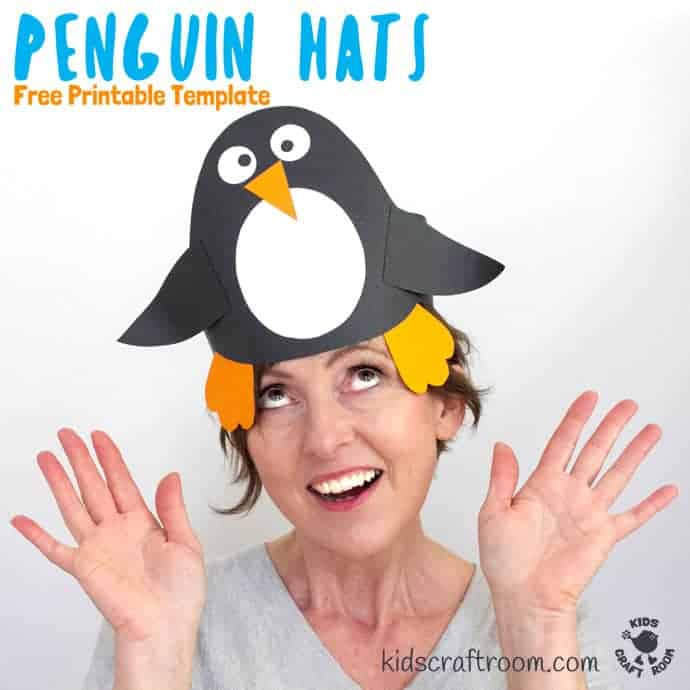 This Paper Penguin Hat Craft is really easy to make and there's a Free Printable Template too so you can dive straight into your kids craft session. This is such a cute Winter craft for kids and great to go alongside a polar region study unit or for World Penguin Day. #kidscraftroom #penguins #penguincrafts #wintercrafts #papercrafts #wintercraftsforkids #printables #printablesforkids #hats #headbands #kidscrafts #preschoolcrafts #preschoolactivities #polar #papercrafts