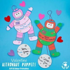Kids will love this printable Astronaut Puppet Craft! Pull the moon and watch the spaceman craft move! This space craft is great to give as Valentine cards or Father's Day cards with space themed messages. (3 printable versions for you to choose from - black and white, pink and green) #kidscraftroom #kidscraftroom #valentinescards #valentinecrafts #spacecraftsforkids #spaceman #astronaut #puppets #papercrafts #printables #kidscrafts
