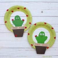 Cactus Valentine Wreath - Paper Plate Valentine Craft For Kids