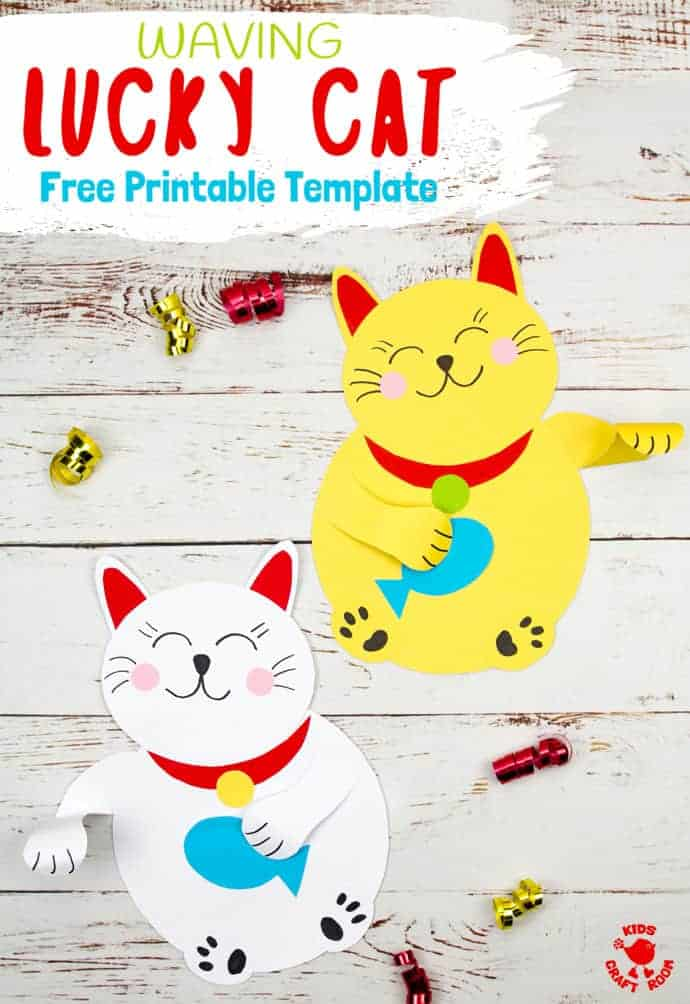 This Waving Chinese Lucky Cat craft is so adorable! Download the free template and beckon happiness and good fortune into your home! A great Chinese New Year craft for kids. #kidscraftroom #cats #catcrafts #kidscrafts #ChineseNewYear #chinesenewyearcrafts #printables #freeprintables #papercrafts