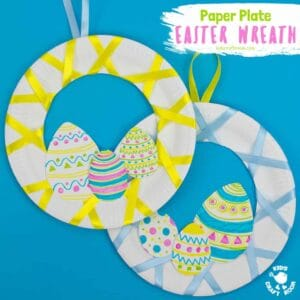 Looking for an easy 5 minute Easter craft for kids? This Easy Peasy Paper Plate Easter Wreath craft is super quick and virtually mess free! These pretty paper plate wreaths are such a fun Spring craft for kids. #kidscraftroom #eastercrafts #eastercraftsforkids #wreaths #wreathmaking #paperplatecrafts #easter #springcrafts