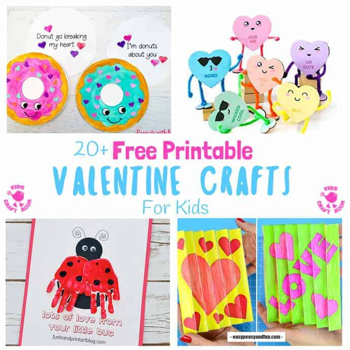 20+ Free Printable Valentine Crafts For Kids. They are all so cute and gorgeous, which will you choose first? So much creative fun for Valentine's Day! #kidscraftroom #Valentine #valentinecrafts #valentinesday #valentinesdayforkids #valentinecards #kidscrafts #printables #printablecrafts #freeprintables