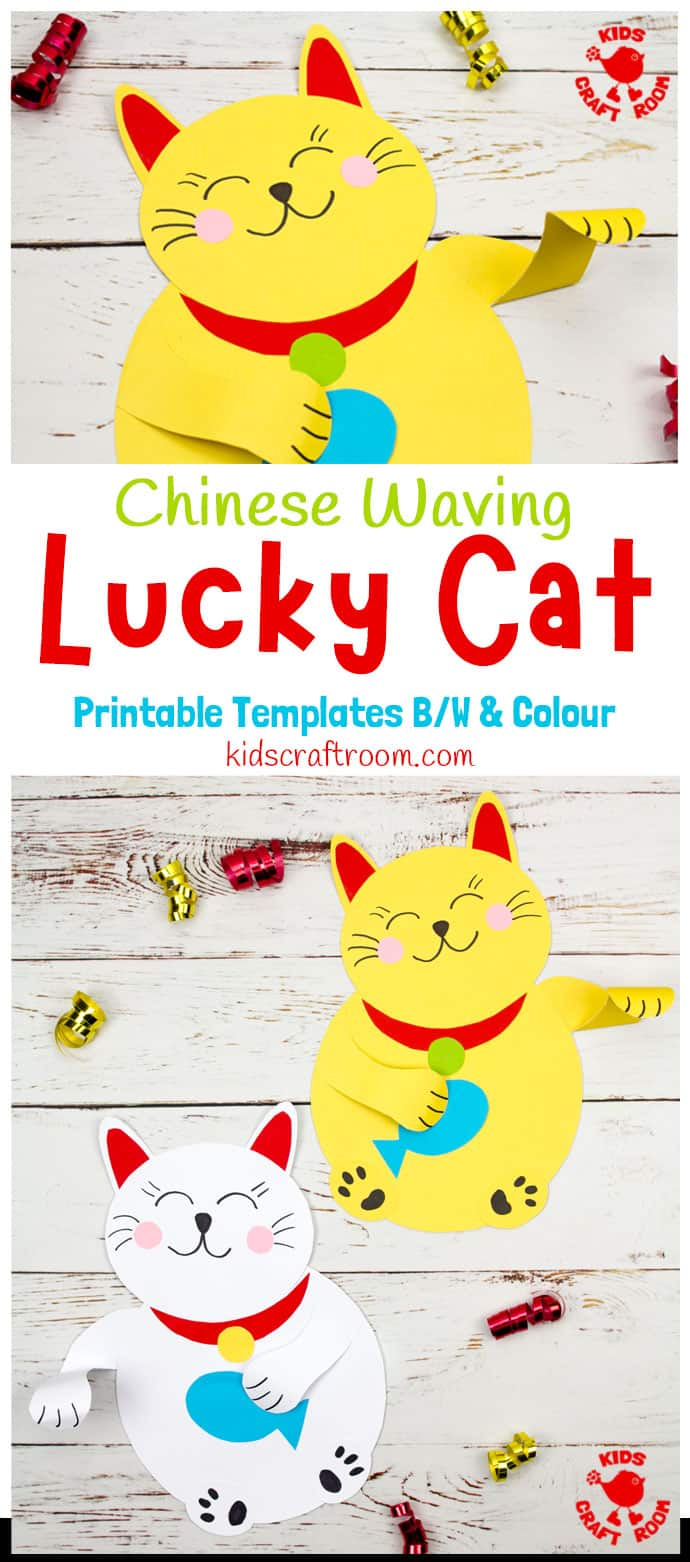Waving Chinese Lucky Cat Craft pin 1