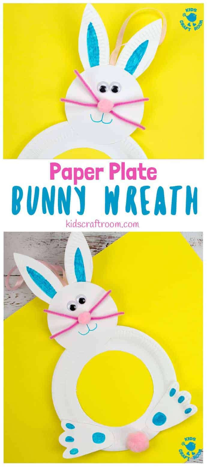 This Paper Plate Easter Bunny Wreath Craft is so cute! Such a fun Easter craft for kids and a lovely Easter Bunny craft to decorate your doors this Spring. What a fun and easy Spring craft for kids. #kidscraftroom #Easter #eastercrafts #kidscrafts #Easterbunny #springcrafts #easterwreaths #paperplatecrafts #eastercraftsforkids