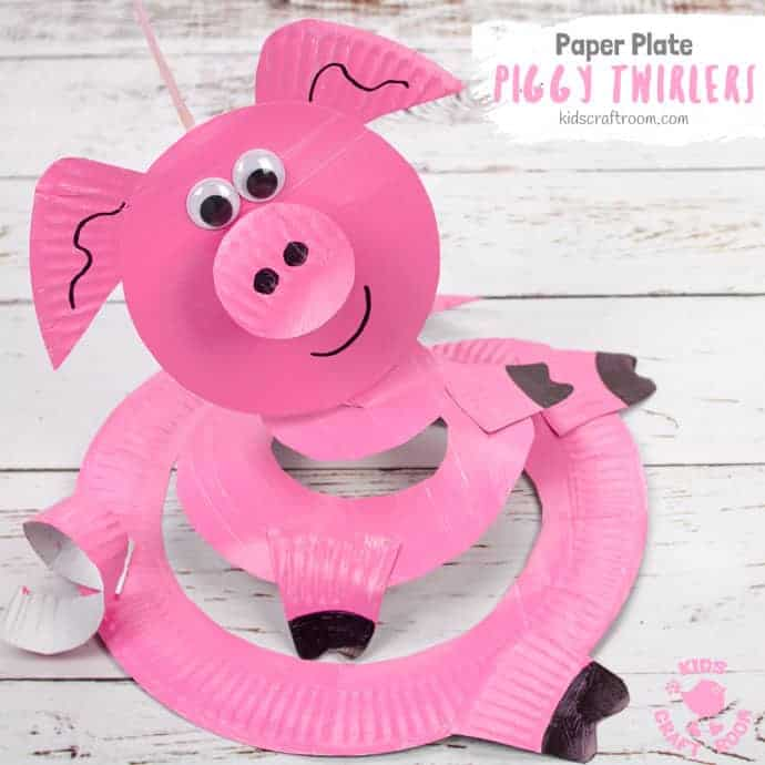 Paper Plate Pig Twirler Kids Craft Room