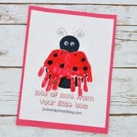 Printable Ladybug Handprint Template with Moveable Wings - Card Idea