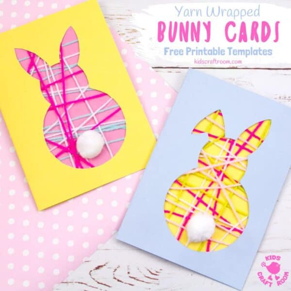 These pretty Yarn Wrapped Easter Bunny Cards are super cute and very easy to make. They're great fun as an Easter craft for kids that lets them practise their fine motor skills too. This easy Easter Bunny craft is adorable as wall decorations super cute Bunny Easter Cards to share with friends. (Free printable templates included) #kidscraftroom #easter #eastercrafts #eastercraftsforkids #easterbunny #eastercards #bunny #printablesforkids #freeprintables #kidscrafts #springcrafts