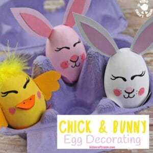 These Bunny and Chick Egg Decorating Ideas are so cute! Decorate real, wooden, paper mache, or plastic eggs. A fun Easter craft for kids. ( free printable template) #kidscraftroom #easter #eastereggs #eggdecorating #eggdecoratingideas #kidscrafts #springcrafts