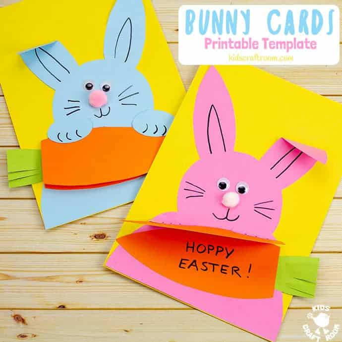 Make cute Carrot Nibbling Easter Bunny Cards easily with the printable template. This hungry bunny craft is adorable! Such a fun Easter craft for kids. #kidscraftroom #easter #eastercrafts #easterbunny #kidscrafts