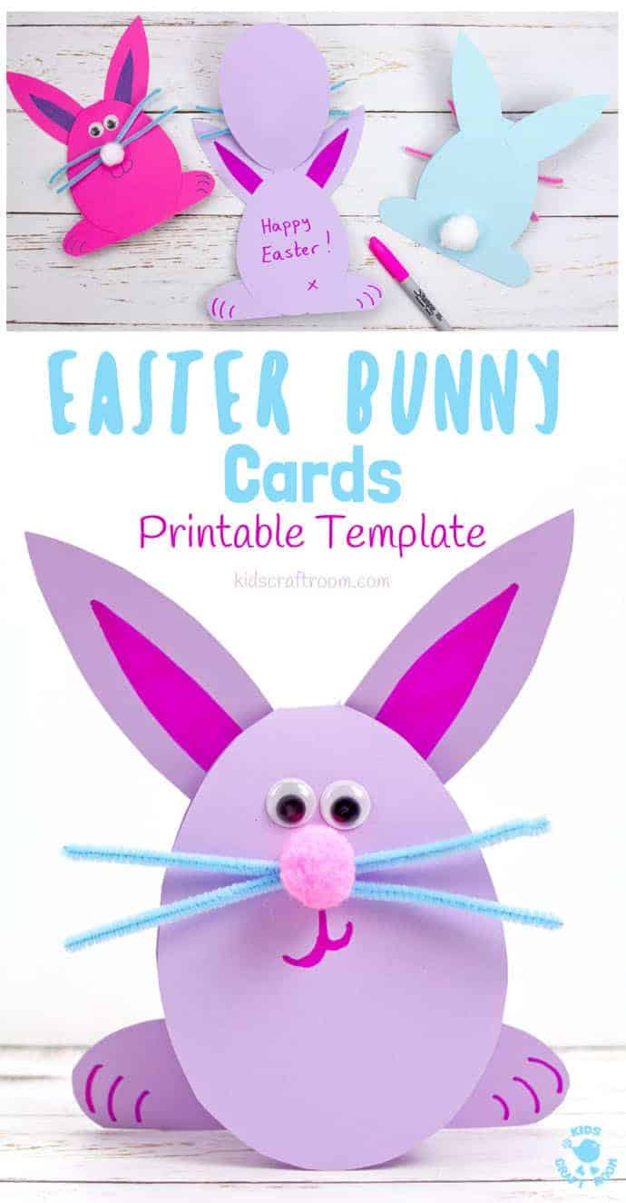 photograph regarding Easter Bunny Printable Template identified as Straightforward Peasy Easter Bunny Playing cards - Small children Craft Place