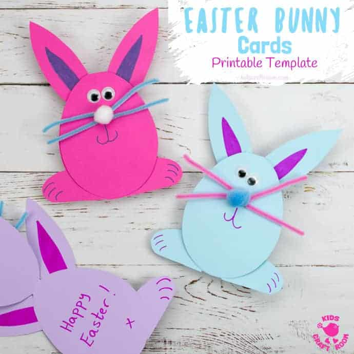 These Easy Easter Bunny Cards are the cutest! Download the printable template for a quick and adorable Easter craft for kids. This simple Easter Bunny craft is great for sharing with friends. #kidscraftroom #easterbunny #eastercrafts #eastercraftsforkids #printables #kidscrafts #eastercards
