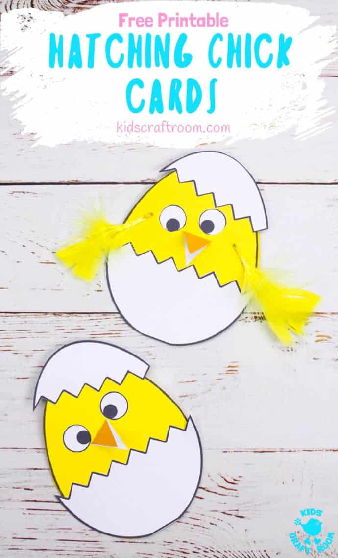 Celebrate Spring with this Hatching Chick Easter Card craft. These baby Easter chicks are adorably cute and easy to make with the free printable pattern. A sweet Easter craft for toddlers and preschoolers. #kidscraftroom #eastercrafts #easterchick #eastercards #printables #springcrafts #kidscrafts #preschoolcrafts