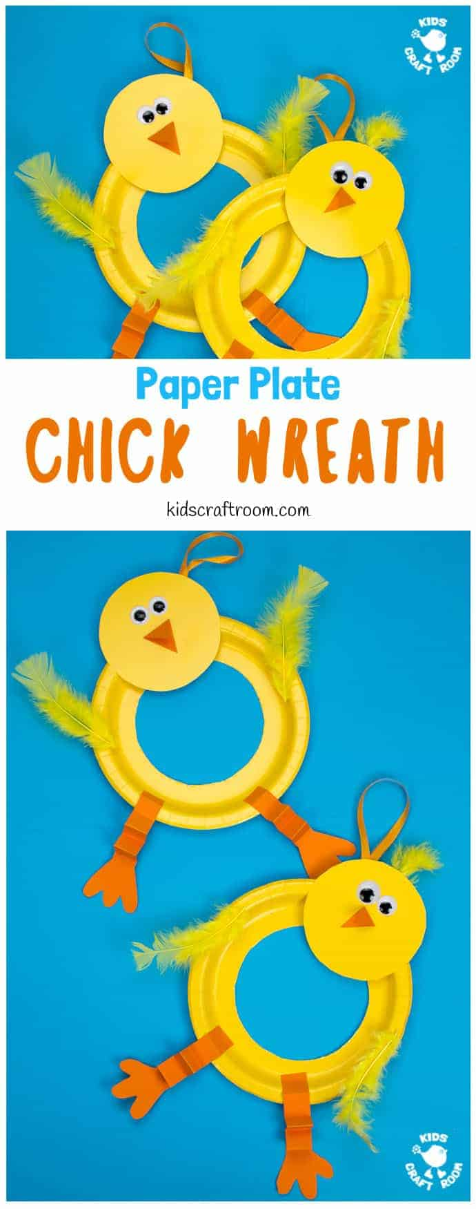 This Paper Plate Chick Wreath Craft is a perfect Spring craft or Easter craft for kids! This chick craft is very easy and looks so cute hanging on the door! Paper plate crafts are so fun! via #kidscraftroom #eastercrafts #easterchicks #chicks #springcrafts #springcraftsforkids #wreaths #wreathmaking #easterwreaths #paperplatecrafts #kidscrafts