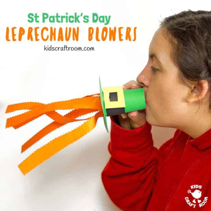 Try these Leprechaun Hat Blowers - A Fun St Patrick's Day Craft for kids! Blow into the leprechaun hat craft to make the orange beard streamers flutter and blow around!  #kidscraftroom #stpatricksdaycrafts #papercrafts #papercraftsforkids #leprechaun #kidscrafts #stpatricksdayactivities