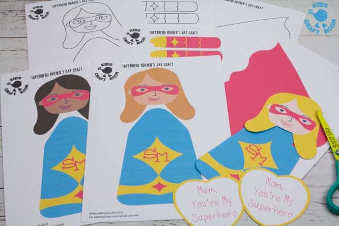 Mother's Day Superhero Puppets step 1