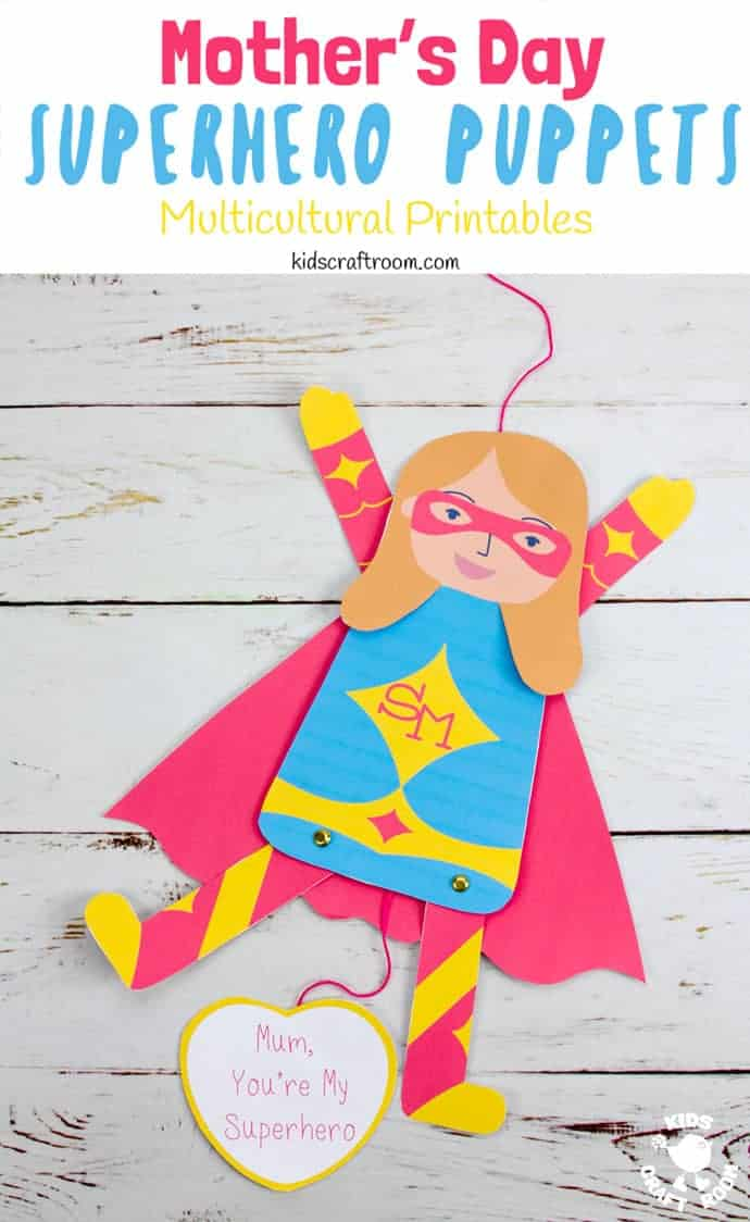 Mother's Day Superhero Puppets pin 2