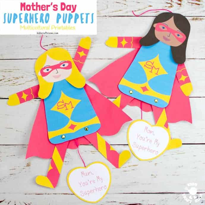 This printable Mother's Day Superhero Puppet craft is a great way to tell Mom or Mum she's super special! Pull the string at the bottom to make Supermom's arms and legs move. Such a fun Mother's Day craft and gift idea. (10 multicultural options to choose from.) #kidscraftroom #mothersday #mothersdaycrafts #superhero #mothersdaygifts #kidscrafts #printables #puppets