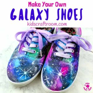 See how to make DIY Galaxy Shoes. They're totally cosmic! Such a fun space craft for kids and grown-ups. This is an easy Sharpie craft you'll be over the moon with! #kidscraftroom #kidscrafts #Sharpiecrafts #space #shoes #teencrafts #tweencrafts #kidsactivities