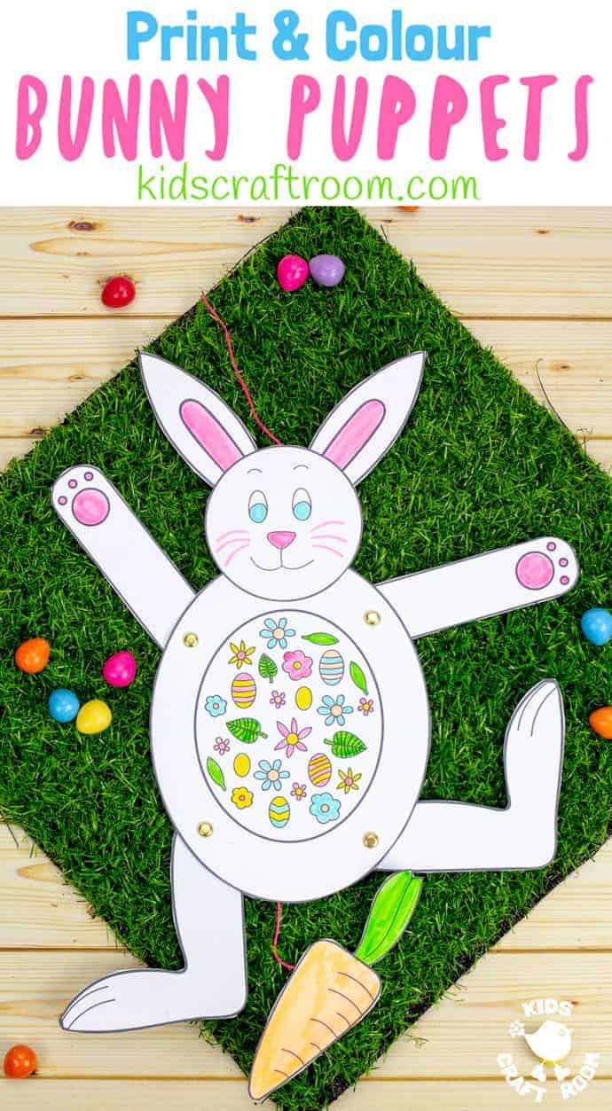 These Print and Colour Paper Bunny Puppets are so fun! Pull the carrot to make them hop and dance! Such a fun Easter craft for kids. (Printable available in black & white and colour.) #kidscraftroom #easter #eastercrafts #EasterBunny #puppets #papercrafts #STEM #STEAM