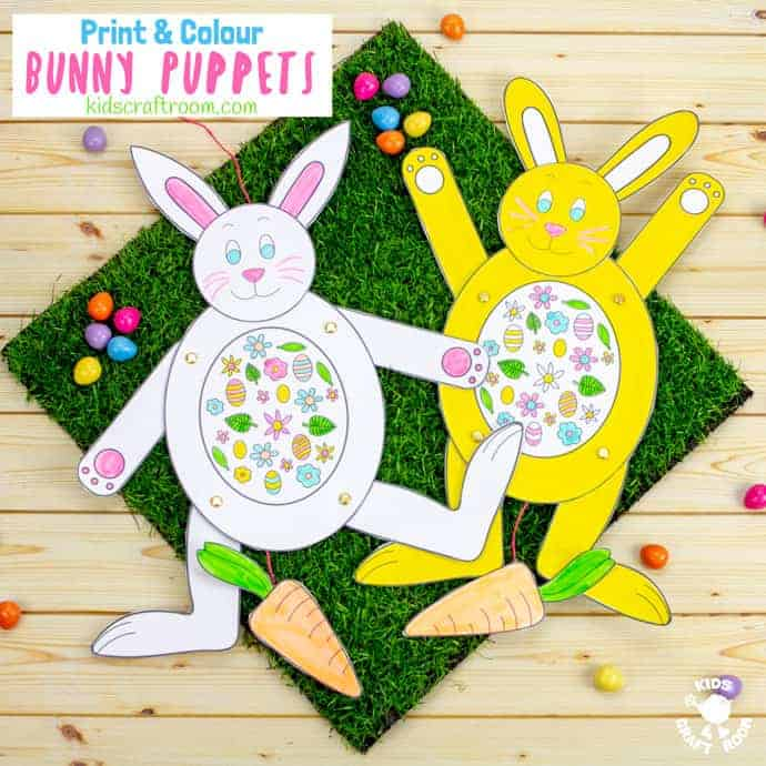 Print and Colour Paper Bunny Puppets