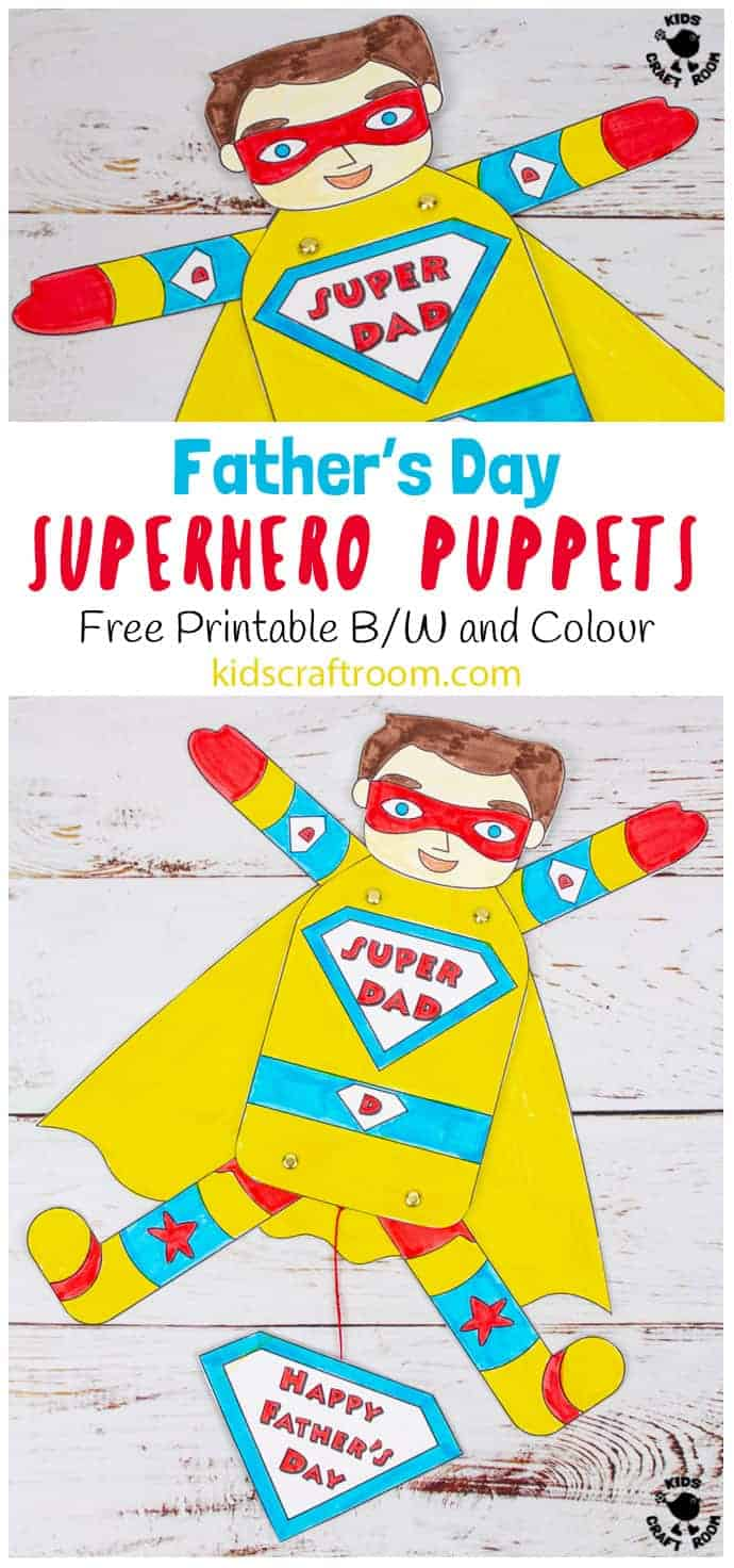 Father's Day Superhero Puppets Craft pin 1