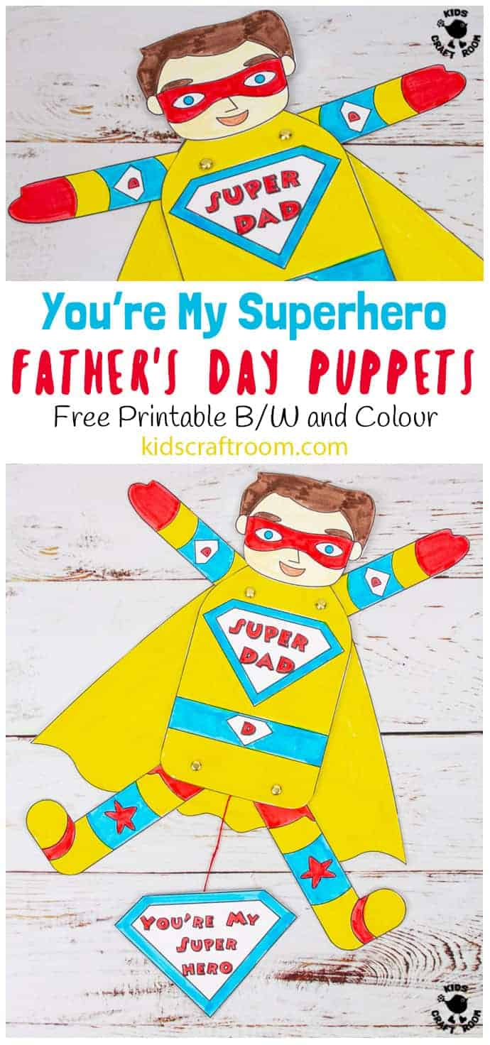 Father's Day Superhero Puppets Craft pin 4
