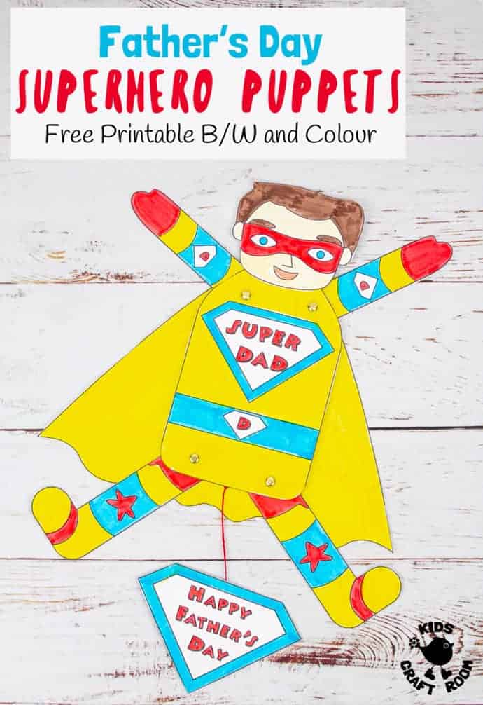 Show Dad he's a real superhero with fun Father's Day Superhero Puppets! Free printable templates in black and white and colour. 9 multicultural versions to choose from. Such a fun Father's Day gift idea for kids to make. #kidscraftroom #fathersday #puppets #superhero #giftideas #kidscrafts #fathersdaygifts