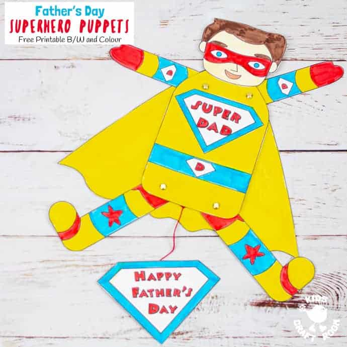 Father's Day Superhero Puppets Craft pin 3
