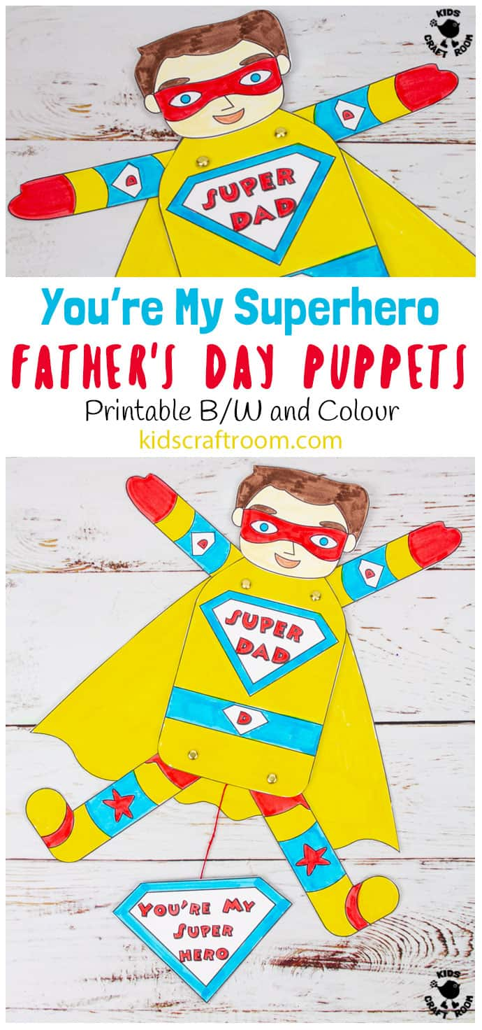 Father's Day Superhero Puppets pin image 1