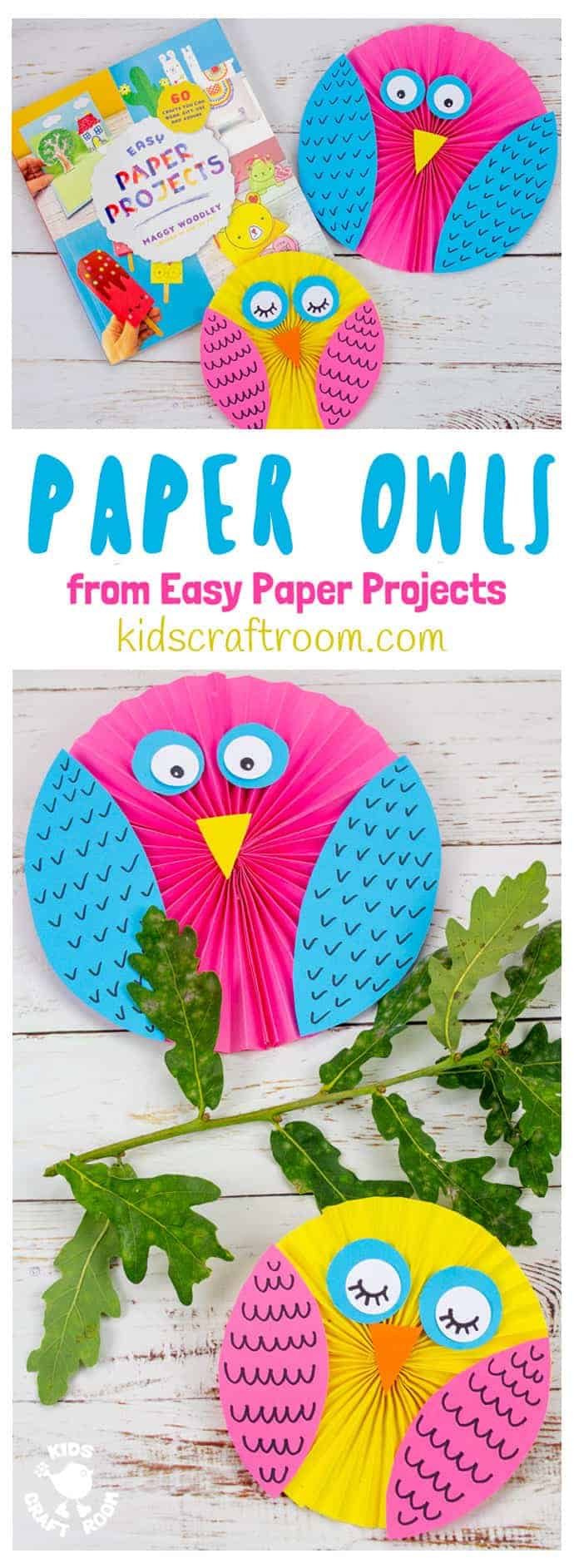 Easy Paper Owl Craft in 2 sizes and colours