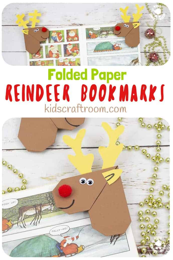 Easy Origami Reindeer Corner Bookmarks are a lovely Christmas craft for kids. Christmas reindeer bookmarks are simple to make and are super as little gifts for friends. This paper reindeer craft is a fabulous first origami project for kids to enjoy this holiday. #kidscraftroom #reindeercrafts #papercrafts #christmascrafts #origami #reindeer #bookmarks #cornerbookmarks #kidscrafts