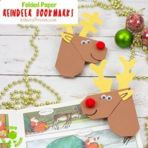 Easy Origami Reindeer Corner Bookmarks