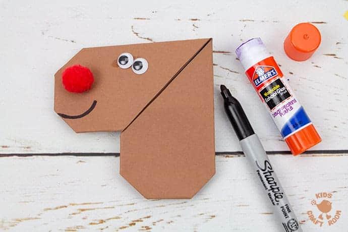 Easy Origami Reindeer Corner Bookmarks step 8