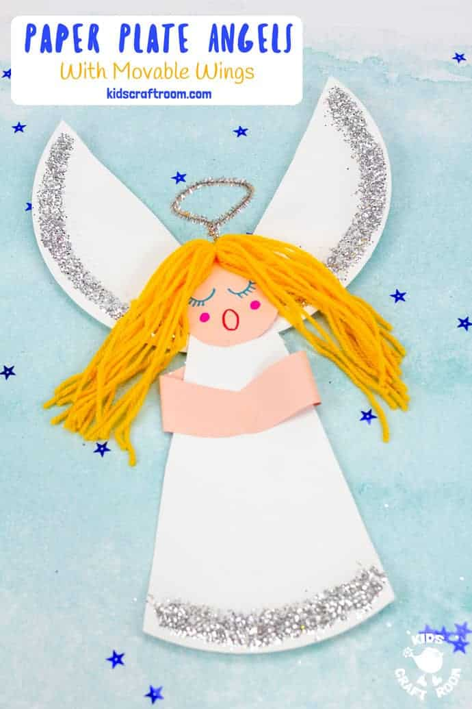 Paper Plate Angel Craft For Kids with yellow hair pin image