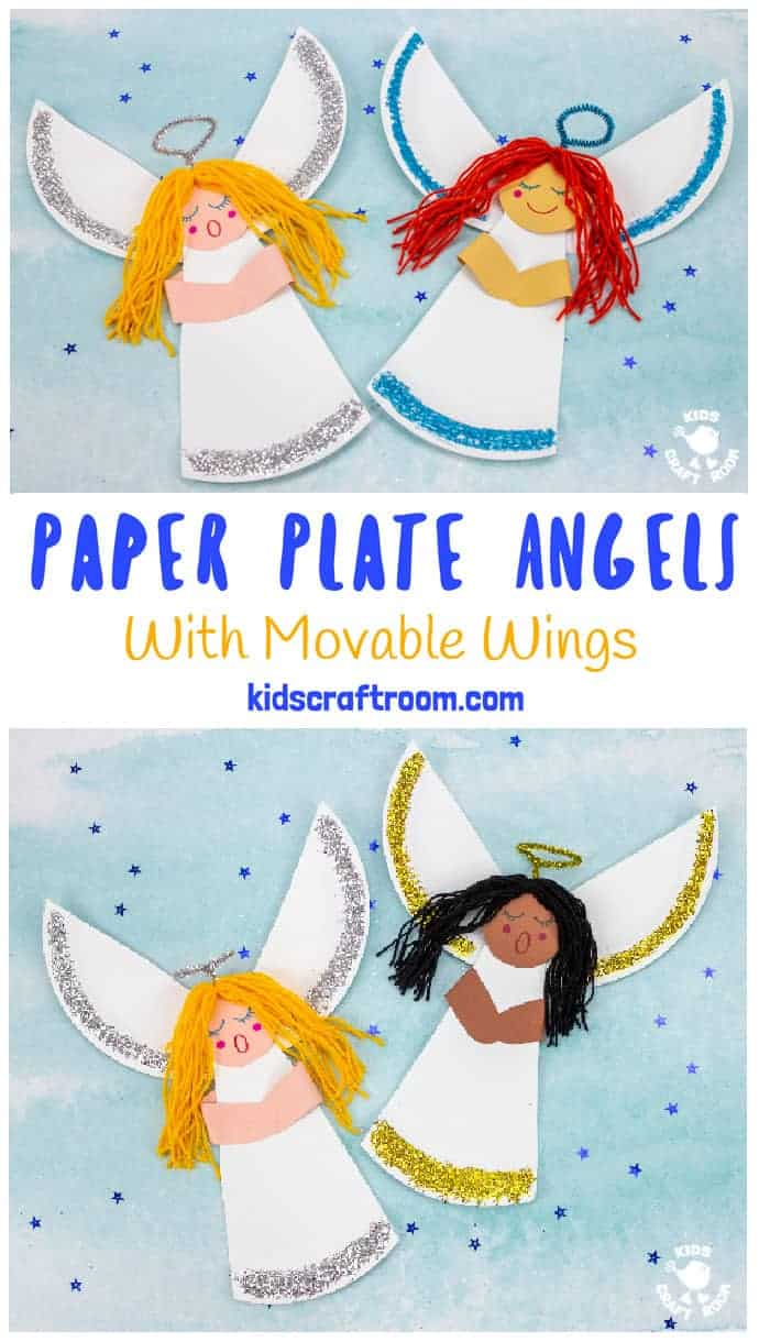 This Paper Plate Angel Craft For Kids is so pretty and fun! This easy Christmas angel craft has movable wings so kids can make and play! A simple and fun paper plate Christmas craft for kids. #kidscraftroom #angelcrafts  #christmascrafts #kidscrafts #paperplatecrafts #angels #angel #nativity #Sundayschoolcrafts #churchcrafts