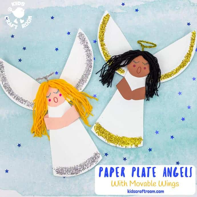 Paper Plate Angel Craft For Kids with yellow and black hair pin image