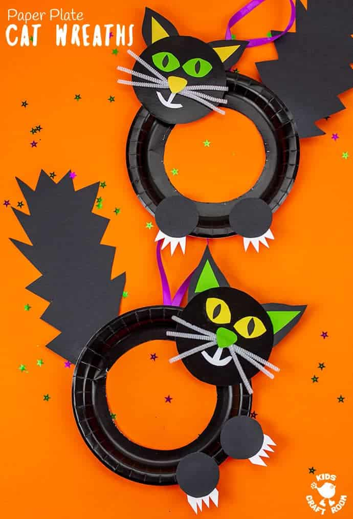 This Halloween Black Cat Wreath Craft is so cool and easy to make! Such a great Halloween craft for kids of all ages and a fun way to decorate the home or classroom. We just love the black cat crafts bushy tails and feisty claws! #kidscraftroom #kidscrafts #halloween #halloweencrafts #kidscrafts #paperplatecrafts #blackcat #halloweenwreaths #halloweendecorations #witchescat #kidsactivities