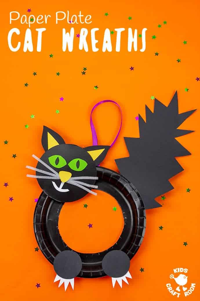 Halloween Black Cat Wreath Craft showing a tall image with one black witches cat