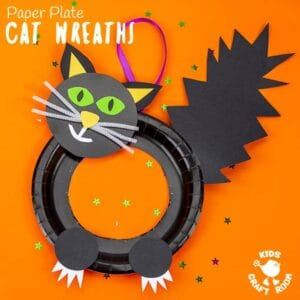 Halloween Black Cat Wreath Craft