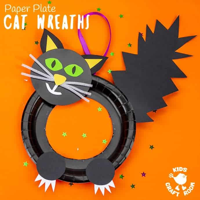 Halloween Black Cat Wreath Craft showing a square image with one black witches cat