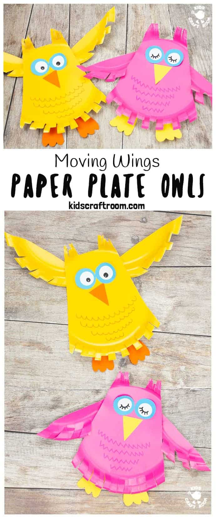 Paper plate owl craft pin image